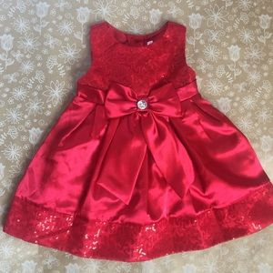 Youngland Girls Red Satin and Sequins Party Dress
